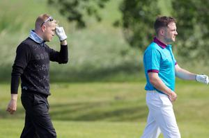 Nicky Byrne and Shane Filan of Westlife during the first round of The JP McManus Invitational Pro-Am event at the Adare Manor Hotel and Golf Resort on July 5, 2010 in Limerick