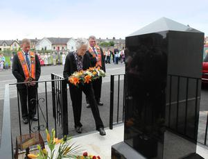 Bessbrook District L.O.L. No 11held a remembrance service at the  Killsmill Memorial, Bessbrook where Mrs Jean Lemmon is pictured laying a wreath. 12 July 2011