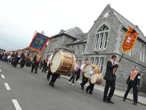 Bessbrook District Lodges  parade through the streets of Bessbrook before heading to Co Armagh 12th celebration in Killylea. 12 July 2011