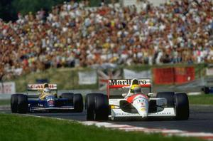 Nigel Mansell v Ayrton Senna, 1991 Senna's aggressive style of driving won him few friends among his fellow drivers and another of his great rivalries brewed with Brit, Mansell, who unlike Prost was less inclined to move over when the Brazilian's moves became a bit dangerous. Between 1984 and 1992 there were many great battles on the track but perhaps the most enduring was that of the 1991 world championship. The championship saw a titanic tussle between Senna and Mansell, the pair finished the season with a combined total of twelve victories out of sixteen races. The battle reached a climax in Barcelona, three races from the end of the season. In what remains an iconic image in Formula One, the Williams of Mansell and the McLaren of Senna raced side by side, inches apart, for the full length of the pit-straight with sparks flying from their wheels. Mansell won the race but Senna won the war with a twenty-four point championship victory.