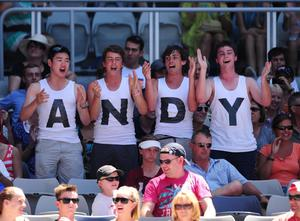 Andy Murray fans during his match against Ryan Harrison on day two of the 2012 Australian Open at Melbourne Park in Melbourne, Australia
