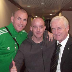Conor Cunningham, centre, with an unnamed friend, left, and Ireland manager Giovanni Trapattoni (Conor Cunningham/PA)