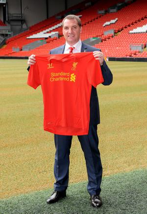 LIVERPOOL, UNITED KINGDOM - JUNE 01:  Brendan Rogers is unveiled as the new Liverpool FC manager at a press conference at Anfield on June 01, 2012 in Liverpool, England. (Photo by Clint Hughes/Getty Images)