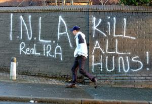 INLA and Real IRA graffiti on the Crumlin Road at Ardoyne