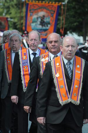 Orangemen on parade during the County Londonderry 12th of July celebration in Limavady on tuesday. PIcture Martin McKeown. Inpresspics.com. 12.7.11