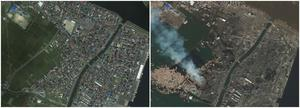 This combo made from images provided by GeoEye shows an area of Natori, Japan on April 4, 2010, left, and March 12, 2011, after an 8.9-magnitude earthquake struck causing a tsunami that devastated the region. (AP Photo/GeoEye) MANDATORY CREDIT, NO SALES.