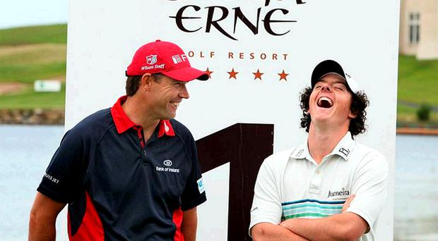 Rory McIlroy and Padraig Harrington at the Lough Erne Resort