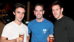 Pictured at the Harp Ice Cold Big Gig, Spring and Airbrake, Belfast are Edmund McCann, Mark Haslett and Jamie Cunningham