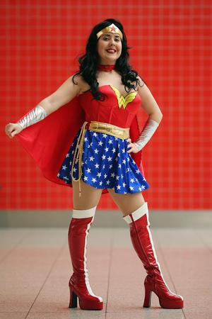 LONDON, ENGLAND - OCTOBER 26:  Jane Stewart, from Liverpool poses as Wonderwoman ahead of the MCM London Comic Con Expo at ExCel on October 26, 2012 in London, England. Visitors to the Comic Convention are encouraged to wear a costume of their favourite comic character and flock to the Expo to gather all the latest news in the world of comics, manga, anime, film, cosplay, games and cult fiction.  (Photo by Dan Kitwood/Getty Images)