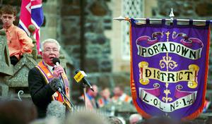 Drumcree Orange Parade At Portadown July 1998. Portadown Grand Master Harold Gracey gives a speech to the crowds outside Drumcree Church of Ireland.