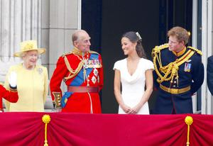 The Royal Wedding...(From left - right) Queen Elizabeth II, Duke of Edinburgh, Pippa Middleton and Prince Harry greet the crowds on the balcony of Buckingham Palace, London, following the wedding of Prince William and Kate Middleton at Westminster Abbey. PRESS ASSOCIATION