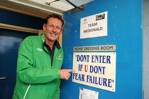 Alan McDonald   before his team took on Billy Hamiltons Team during the Vauxhall Big Pitch game at Windsor Park.