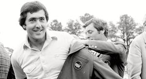 Seve Ballesteros, left, gets the Masters green jacket from last year's winner, Fuzzy Zoeller, after winning the 1980 Masters in Augusta, Ga., in this April 13, 1980.