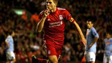 LIVERPOOL, ENGLAND - NOVEMBER 04:  Steven Gerrard of Liverpool celebrates scoring an equalising goal during the UEFA Europa League Group K match beteween Liverpool and SSC Napoli at Anfield on November 4, 2010 in Liverpool, England.  (Photo by Clive Brunskill/Getty Images)