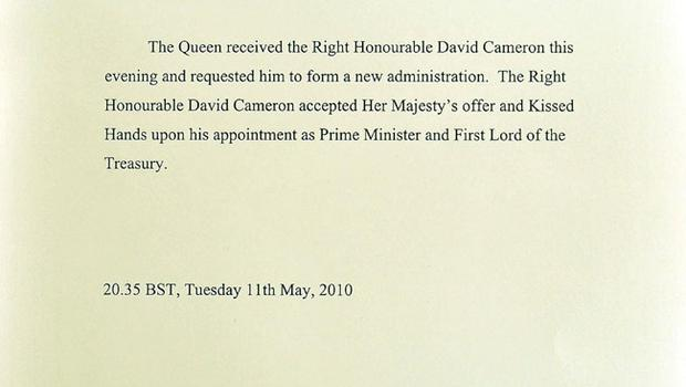 The official Buckingham Palace document released by the press office, announcing Queen Elizabeth II's request for David Cameron to form a new administration
