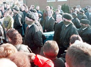 INLA 'Guard of Honour' at the coffin of leading Belfast INLA 'Chief of Staff' Gino Gallagher who was shot dead during a republican feud