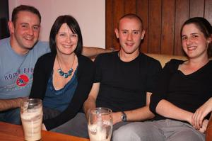 G, Lee, and P Lutton with Jo Patterson from Sydney in The Apartment