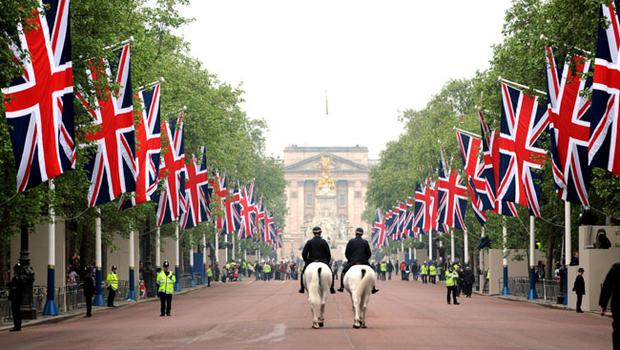Union Flags in The Mall, London, on the day of the royal wedding.