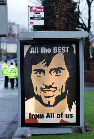 A bus stop on the Cregagh Road on the morning of George Best's funeral.