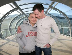 Sinead O Connor with  Barry Herridge at Dublin Airport