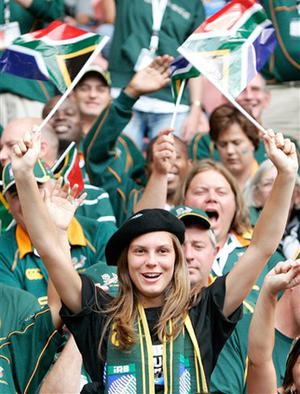 Fans wave South African flags prior to the Rugby World Cup Group A match between South Africa and Samoa, Sunday, Sept. 9, 2007 at the Parc des Princes stadium in Paris.