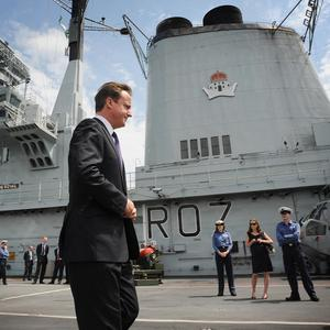 Prime Minister David Cameron after speaking to sailors on board HMS Ark Royal in Halifax Nova Scotia