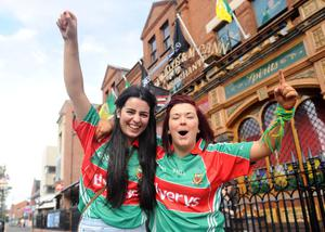 All Ireland Final - Donegal v Mayo Fans Pictures - 23rd September 2012Round - Copyright Presseye.comMandatory Credit Declan Roughan / Presseye(L-R) Tracey Donaghy from Aughabrack, Co Tyrone and Orlaith Kerlin from Aughabrack, Co Tyrone  watch the All Ireland from the Hatfield Bar, Ormeau Road Belfast