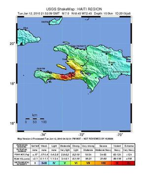 This image released by the US Geological Survey shows a shake map of the Haiti Region processed Tuesday, Jan. 12, 2010