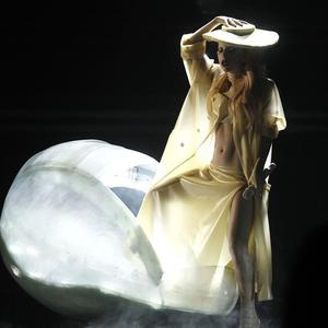 Lady Gaga arrived on the Grammys stage in a giant egg