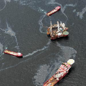 Workboats operate at the site of the Deepwater Horizon incident in the Gulf of Mexico (AP)