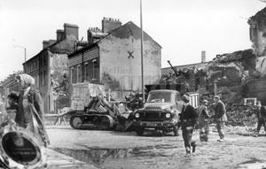 Riots : Belfast. August 1969.  The clearing up goes on after the riots of last week.  The devastated scene was taken at the corner of Dover Street, Belfast.  (20/8/69)