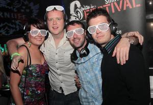 Vicki Magowan, Paul Malone, Chris McNabb and Liam Connell at the 'Smirnoff Be There' Silent Disco in the Bank, Newry.