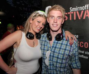 Kelly McClorey-Saval and Ryan Hudson at the 'Smirnoff Be There' Silent Disco in the Bank, Newry.