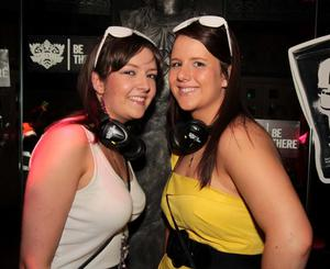 Orla Quinn and Sinead O'Grady at the 'Smirnoff Be There' Silent Disco in the Bank, Newry.