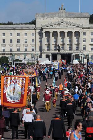 Orangemen  march to Stormont estate  during  Saturday's Ulster Covenant centenary parade