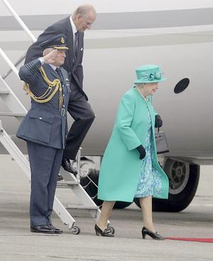 Britain's Queen Elizabeth II and the Duke of Edinburgh arrive at Casement Aerodrome, Baldonnel,  for a four day state visit.