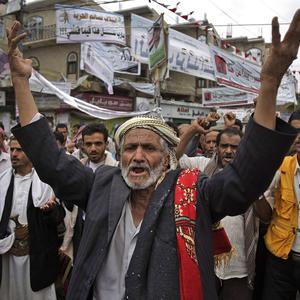 An anti-government protestor at a demonstration demanding the resignation of Yemeni President Ali Abdullah Saleh, in Sanaa, Yemen (AP)