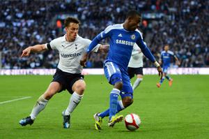 LONDON, ENGLAND - APRIL 15:  Salomon Kalou of Chelsea holds off Scott Parker of Tottenham Hotspur during the FA Cup with Budweiser Semi Final match between Tottenham Hotspur and Chelsea at Wembley Stadium on April 15, 2012 in London, England.  (Photo by Mike Hewitt/Getty Images)