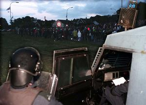 Riot Police are called in every night to the Garvaghy Road as the Drumcree Stand Off continues