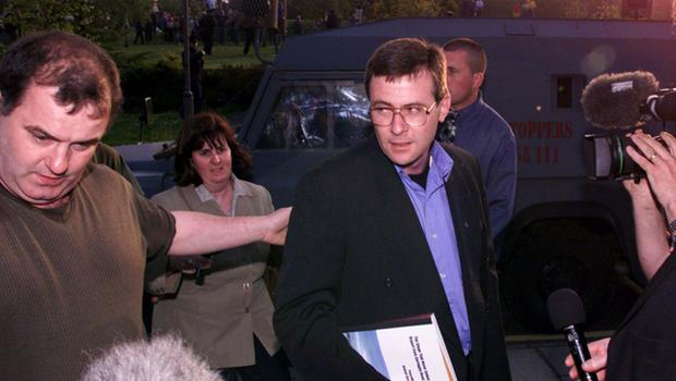 Garvaghy Road Residents Meet With David Trimble May 99. Brendan McKenna arrives at Craigavon Civic Centre to meet the First Minister David Trimble in an effort to solve the Drumcree stand off.