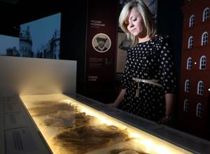 Aisling Dinsmore looks at the old Linen samples in Gallery 1 of Titanic Belfast