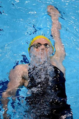 Emily Seebohm of Australia competes in the Women's 100m Backstroke semi final 2 on Day 2 of the London 2012 Olympic Games