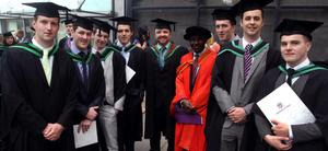29.06.11. PICTURE BY DAVID FITZGERALDUniversity of Ulster Graduations at the Waterfront Hall, Belfast yesterday. Niall McAuley, Ryan Rocks, Cormac McAnespey, Colm Watters, Robert Weatherup, Henry Odeyinka, Oran Donnelly, Thomas McCooe and Eamon McElduff who all studied Quantity Surveying