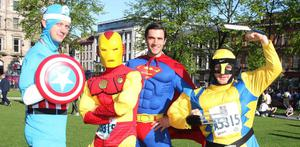 Press Eye - Belfast - Northern Ireland  -  3rd May 2010  - Picture by Jonathan Porter / Press Eye -  Deep River Rock 2010 Belfast City Marathon takes place in Belfast today.  Left to right.  Super heroes John Cox, Richard Stuckey, Duncan Macrea and Rob Woodhead from London who were running for Action Cancer.