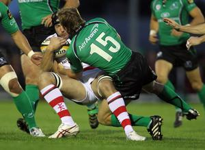 Magners League 25/9/2010Connacht vs UlsterConnacht's Gavin Duffy and  Stephen Ferris of UlsterMandatory Credit ©PRESSEYE / INPHO/James Crombie