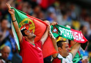 L'VIV, UKRAINE - JUNE 13:  Portugal fan enjoys the pre-match atmopshere during the UEFA EURO 2012 group B match between Denmark and Portugal at Arena Lviv on June 13, 2012 in L'viv, Ukraine.  (Photo by Martin Rose/Getty Images)