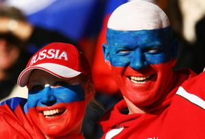 ROTORUA, NEW ZEALAND - SEPTEMBER 25: Russia fans smile prior to the IRB 2011 Rugby World Cup Pool C match between Ireland and Russia at Rotorua International Stadium on September 25, 2011 in Rotorua, New Zealand.  (Photo by Teaukura Moetaua/Getty Images)
