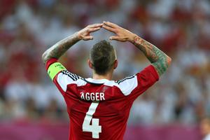 L'VIV, UKRAINE - JUNE 17:  Daniel Agger of Denmark reacts after defeat in the UEFA EURO 2012 group B match between Denmark and Germany at Arena Lviv on June 17, 2012 in L'viv, Ukraine.  (Photo by Alex Livesey/Getty Images)