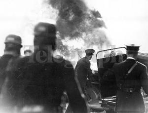 Riots : Belfast. August 1969.  Pyre of smoke rises from the burnt out cars set alight on the protestant Shankill Road, Belfast, after rioters fought fierce battles with police.  3/8/69