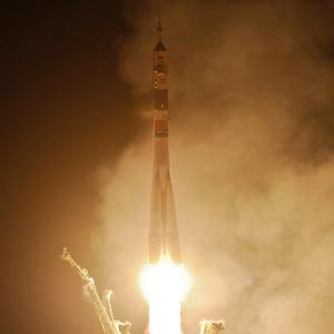 The Soyuz TMA-20 rocket launches from the Baikonur Cosmodrome in Kazakhstan